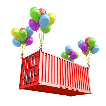 freight container: The concept of transportation. Balloons are a freight container. 3d render Stock Photo