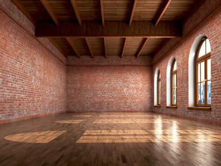 Lege ruimte met rustieke afwerking van een residentiële interieur of kantoorruimte. 3d illustratie Stockfoto