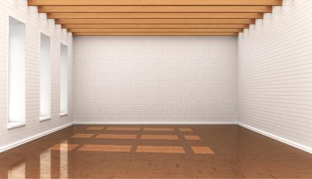 empty room, white wall bricks, blocks, ceiling with wooden baloe. 3d illustration