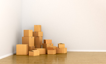 going green: Cardboard boxes in empty room. The concept of moving. 3d  illustration