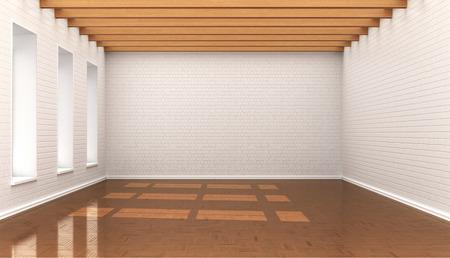 stark: empty room, white wall bricks, blocks, ceiling with wooden baloe. 3d illustration