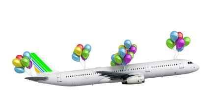 wispy: concept of light hops a plane flies on balloons on white 3d render illustration