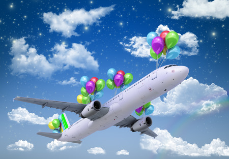 wispy: concept of light hops a plane flies on balloons on a background of the sky 3d render Stock Photo