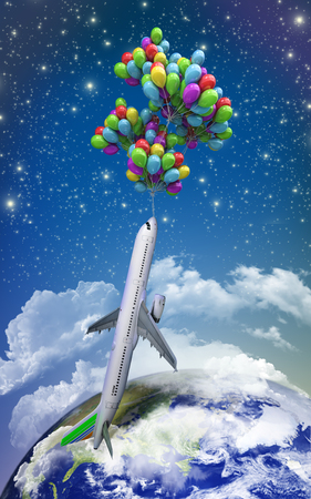 photo real: VT light air travel concept airplane flies on balloons on a background of the sky 3d illustration render Stock Photo