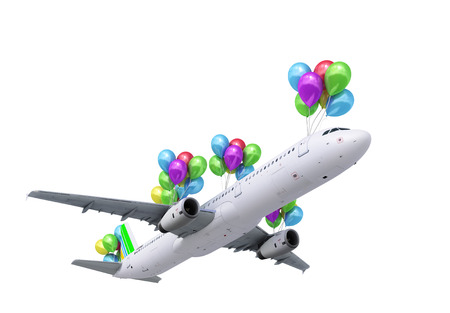 wispy: concept of light hops a plane flies on balloons on white 3d render