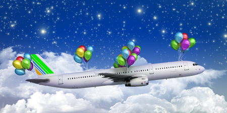wispy: concept of light hops a plane flies on balloons on a background of the sky 3d render illustration