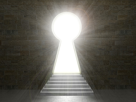 Keyhole in a stone wall.3d illustration
