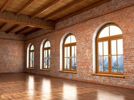 Loft studio Interior in old house. Big windows, brick red wall.3d illustration