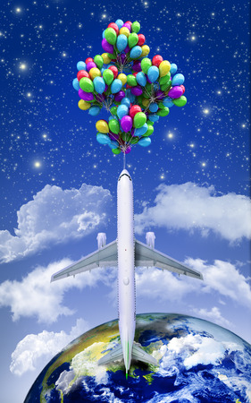 wispy: the concept of space travel on the plane flying balloons on a background of the sky 3d render