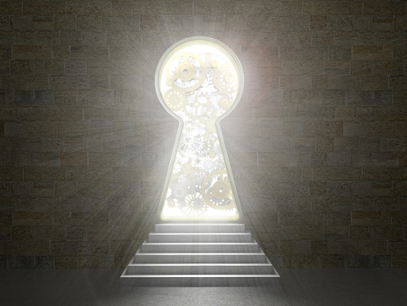 way out: Keyhole in a stone wall.3d illustration