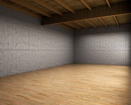 mansard: Large empty room with concrete walls. 3d illustration Stock Photo