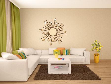 colores calidos: 3d ilustración de Inter de colores cálidos moderna sala de estar