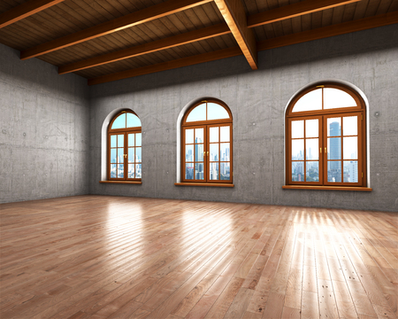spacious: Large spacious room with concrete walls and large windows. 3d illustration Stock Photo