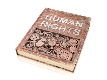 belief system: The concept rusty metal books on human rights.3d illustration.