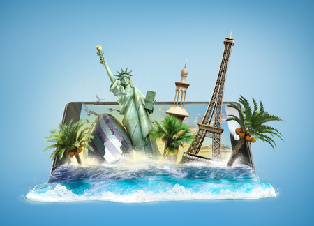 travel phone: concept of travel, landmarks look out for the sea wave the phone screen, online ordering vouchers, beautiful background for Camping & Outdoor theme, 3d illustration on gradient background Stock Photo