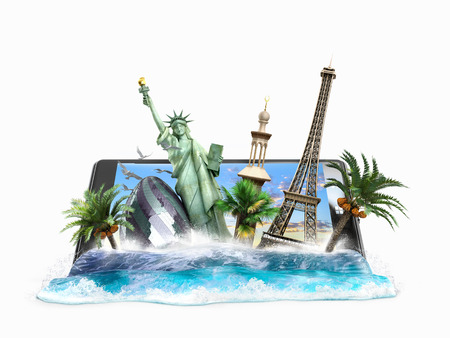 look out: concept of travel, landmarks look out for the sea wave the phone screen, online ordering vouchers, beautiful background for Camping & Outdoor theme, 3d illustration