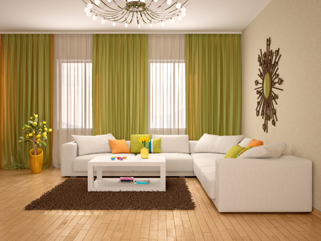 warm colors: 3d illustration of Interior of modern living room warm colors