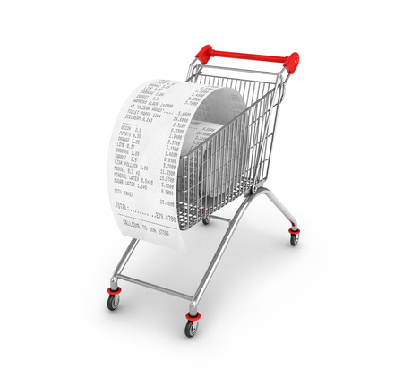 cash slips: Shopping Trolley With  Receipts Over White Background Stock Photo