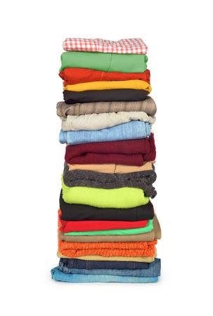 laundry pile: family laundry pile of clothing isolated Stock Photo