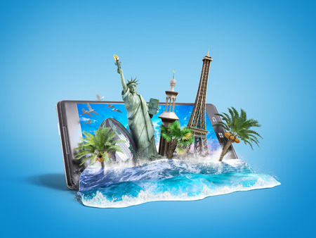look out: concept of travel, landmarks look out for the sea wave the phone screen, online ordering vouchers, beautiful background for Camping & Outdoor theme, 3d illustration on gradient background Stock Photo