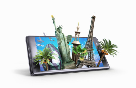 travel phone: concept of travel. landmarks look out for the phone screen. online ordering vouchers. beautiful background for Camping & Outdoor theme. 3d illustration
