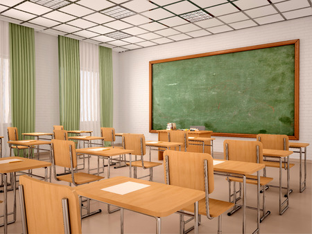 empty classroom: 3d illustration of bright empty classroom for lessons and training Stock Photo