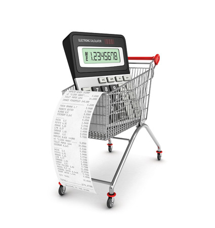 financial figures: Shopping till receipt, calculator and cart concept for grocery expenses and consumerism, 3d illustration