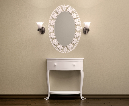 antique table: 3d illustration of beautiful white dressing table with a carved frame for a mirror