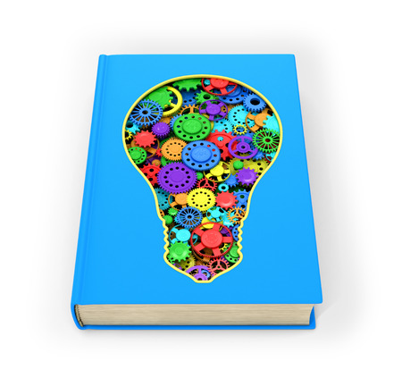 belief system: Blue Book that has a slit in the form of a light bulb inside which multicolored shesterni.Izolovanyy on a white background. 3D illustration