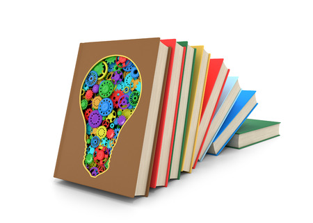belief system: A set of books where one of the books is cut in the form of a light bulb inside which multicolored shesterni.Izolovanyy on a white background. 3D illustration