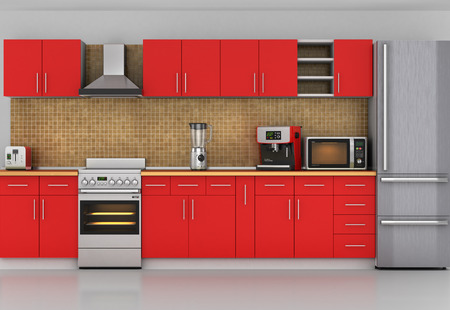 granite counter: Facade of kitchen. Front view to red kitchen with appliances. 3d illustration Stock Photo