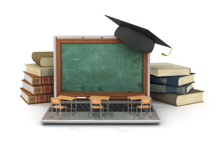 schooldesk: Webinar concept. Schooldesk and chalkboard on the laptop keyboard. 3d illustration Stock Photo