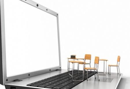 Webinar-Konzept. Schulbank und Tafel auf der Laptop-Tastatur. 3D-Darstellung