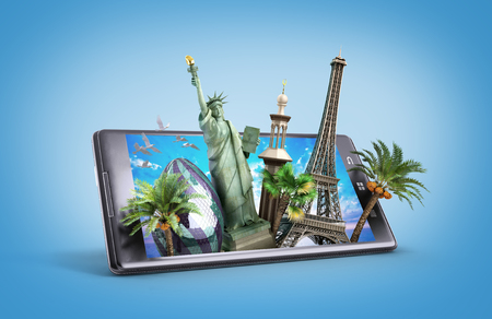 concept of travel. landmarks look out for the phone screen. online ordering vouchers. beautiful background for Camping & Outdoor theme. 3d illustration Фото со стока - 56782036