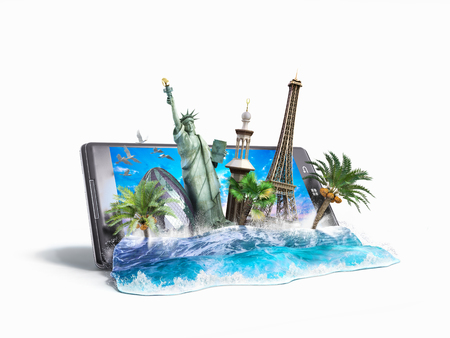 travel phone: concept of travel, landmarks look out for the sea wave the phone screen, online ordering vouchers, beautiful background for Camping & Outdoor theme, 3d illustration