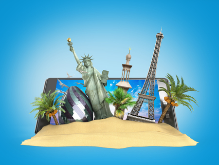 look out: concept of travel landmarks look out for the phone screen online ordering vouchers beautiful background for Camping & Outdoor theme 3d illustration on blue