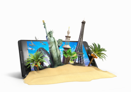 travel phone: concept of travel landmarks look out for the phone screen online ordering vouchers beautiful background for Camping & Outdoor theme 3d illustration on white
