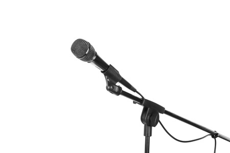 amplified: Microphone on stand cutout, isolated on white background