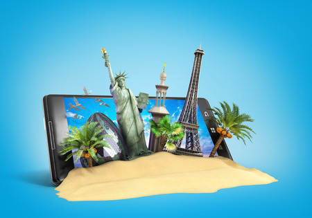ordering: concept of travel landmarks look out for the phone screen online ordering vouchers beautiful background for Camping & Outdoor theme 3d illustration on blue