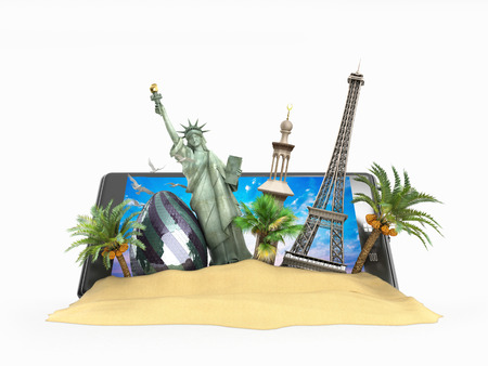 look out: concept of travel landmarks look out for the phone screen online ordering vouchers beautiful background for Camping & Outdoor theme 3d illustration on white backgrownd