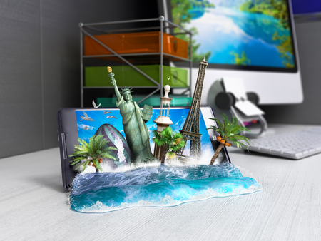 ordering: concept of travel, landmarks look out for the sea wave the phone screen on worck table, online ordering vouchers, beautiful background for Camping & Outdoor theme, 3d illustration