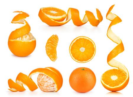 Collection of orange, slice and orange peeled skin isolated white background