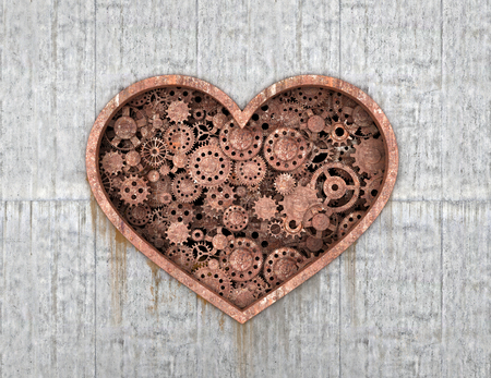 stereotypes: Rusty mechanism in the form of heart embedded in the concrete wall.3D illustration