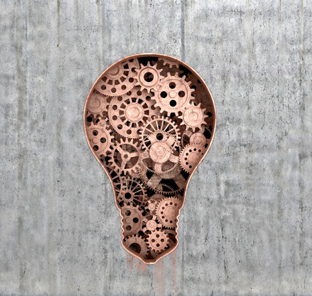embedded: Rusty mechanism in the form of lights embedded in the concrete wall.3D illustration