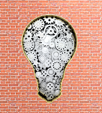 stereotypes: Metal gear mechanism in the form of bulbs built into a brick wall.3d illustration