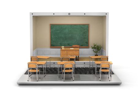 teacher desk: Webinar concept. Chalkboard with teacher desk in the laptop screen and school desk on the keyboard. 3d illustration