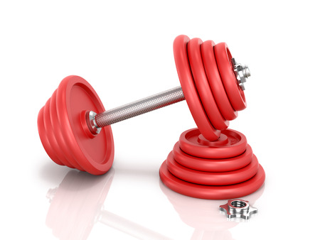 red metal: The red metal dumbbell with pancake and clamp dumbbells isolated on white background.3D illustration