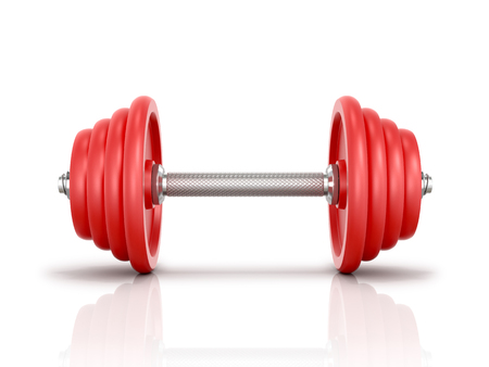 dumbell: The red metal dumbbell isolated white background.3D illustration