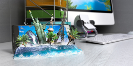 look out: concept of travel, landmarks look out for the sea wave the phone screen on worck table, online ordering vouchers, beautiful background for Camping & Outdoor theme, 3d render