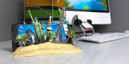 ordering: VT concept of travel, landmarks look out for the sand the phone screen on worck table, online ordering vouchers, beautiful background for Camping & Outdoor theme, 3d render